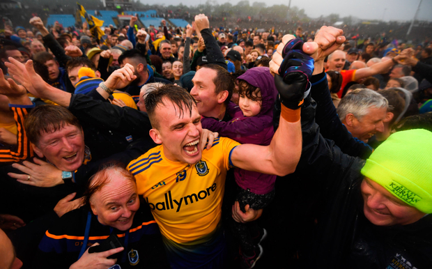 Roscommon's Enda Smith celebrates with supporters following their Connacht SFC semi-final victory over. Photo: Stephen McCarthy
