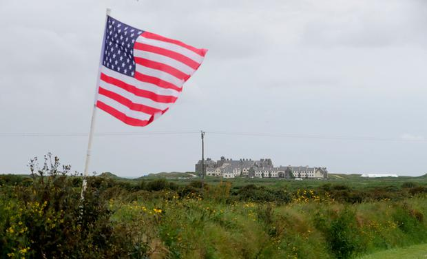 Stars and gripes: an American flag flies in front of Doonbeg Golf Club in Co Clare