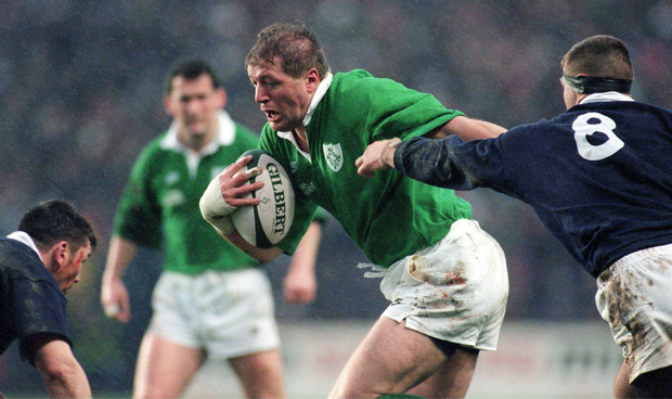 Neil Francis in action for the Ireland rugby team in 1996