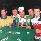 Paul Kimmage, Sean Kelly, Stephen Roche and Martin Earley in jubilant mood following Roche's victory in the 1987 World Championships in Villach, Austria