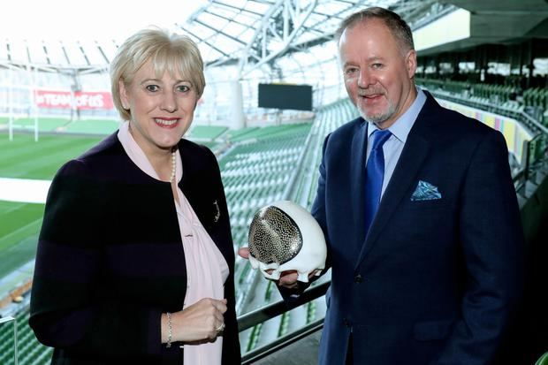Futureproof: Business Minister Heather Humphreys with Paddy Byrnes of Croom Precision Medical at the 'Future Jobs Ireland' summit at the Aviva Stadium. Photo: Maxwells