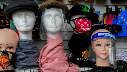 Face facts: Masks and visors for sale in Dublin city centre. Photo: Collins Dublin, Gareth Chaney