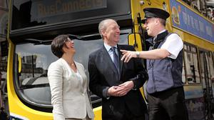 National Transport Authority CEO Anne Graham, Transport Minister Shane Ross and bus inspector Ciaran Keogh