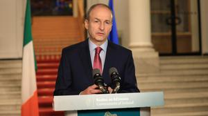 Taoiseach Micheál Martin last Friday unveiling the measures for exiting Level 5. Photo: Julien Behal