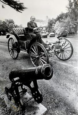Charles Haughey on a vintage car at Abbeville, Kinsealy. Photo: Tom Burke