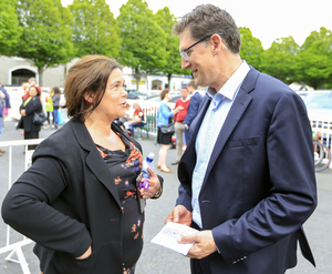 Winners and losers: Sinn Fein's Mary Lou McDonald and Green Party leader Eamon Ryan reflect on the European and local elections which saw the Greens up and SF down on votes. Photo: Gerry Mooney