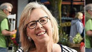 Controversy: Elizabeth May, the leader of Canada's Green Party, before and after the picture was 'doctored' to remove a disposable cup