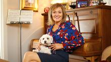 Mary Kennedy pictured with her dog Daisy, at her home in Knocklyon after rehearsals for DWTS. Photo: Frank McGrath