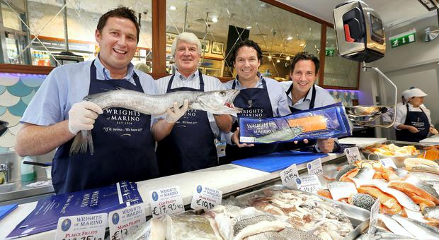 Wrights fishmongers for Luncinda O'Sullivan. from Left, Jeffrey, John, Jonathan and James Wright at their shop in Marino.