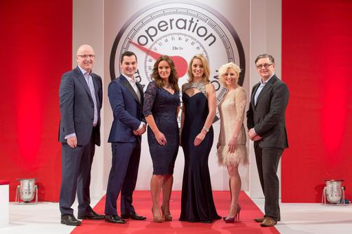 Radio 1's John Murray, fitness expert Karl Henry, Dr Ciara Kelly, presenter Kathryn Thomas, dietitian Aoife Hearne and Principal Clinical Psychologist with the HSE Dr Eddie Murphy pictured at the Operation Transformation catwalk finale. Photo: Andres Poveda