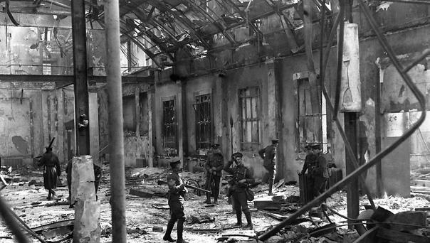 Soldiers inspect the interior of Dublin's General Post Office, viewing the complete destruction of the building after being shelled by the British during the Easter Rising 1916 (Hulton Archive/Getty Images)