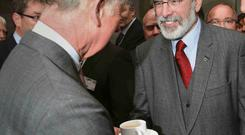 Britain's Prince Charles met Gerry Adams in Ireland on Tuesday, the first time the leader of the former political wing of the Irish Republican Army (IRA) has met a senior member of the royal family, his Sinn Fein party said (REUTERS/Brian Lawless)
