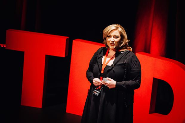 What's the story: Dearbhail McDonald during her TED talk at DCU's Helix Theatre