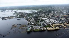 Devestation: an image captured by the Air Corps of the area around Athlone last week Photo:Defense forces