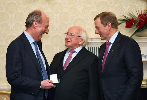 HONOUR: New transport minister Shane Ross with President Michael D Higgins and Taoiseach Enda Kenny. Photo: Colin Keegan