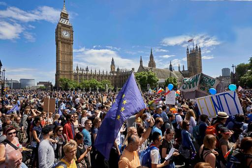 CHANGE: Thousands of protesters gathered in Parliament Square, London, yesterday for a March for Europe. GETTY