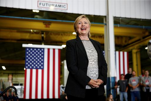 US Democratic presidential nominee Hillary Clinton smiles as she is introduced at a campaign event at the Futuramic Tool and Engineering firm in Warren, Michigan, this week. Picture Credit: Reuters/Chris Kean