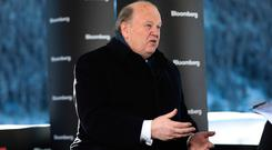 Finance Minister Michael Noonan during a Bloomberg Television interview during the World Economic Forum (WEF) in Davos, Switzerland, yesterday. Photo: Simon Dawson/Bloomberg