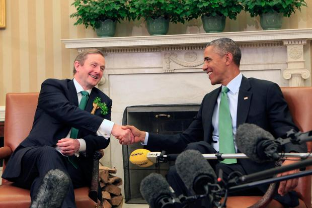 FRIENDLY: Barack Obama enjoyed lighter moments with Enda Kenny