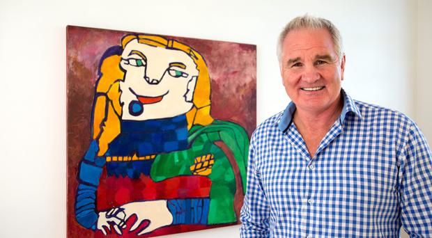 Homeward bound: Brent Pope with some of his art work. Photo: Mark Condren