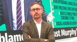 Sinn Fein housing spokesman Eoin O Broin marked Eoghan Murphy's first year as Minister for Housing with a mobile billboard highlighting the department's failings. Photo: PA