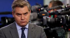 CNN White House correspondent Jim Acosta attends a press briefing at the White House in Washington, DC before his press pass was removed