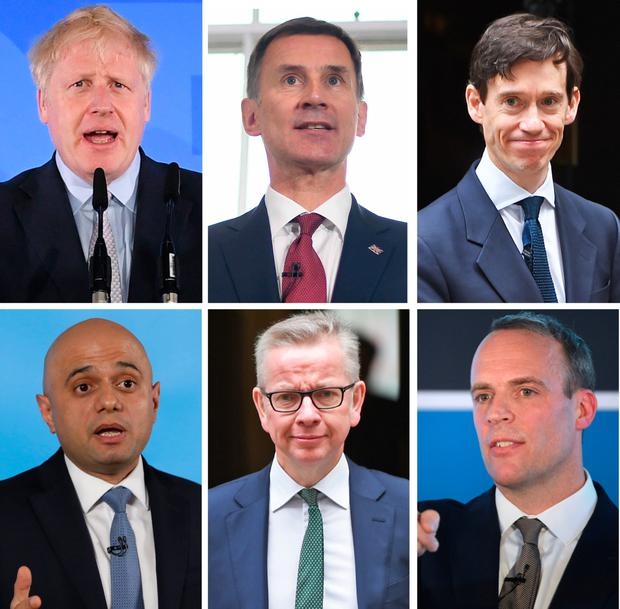 In the race: Clockwise from top left, Boris Johnson, Jeremy Hunt, Rory Stewart, Dominic Raab, Michael Gove and Sajid Javid, who are the six contenders. Photo: PA