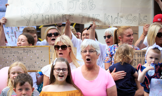 Anger: Residents from Ballybough at a protest outside Hyde and Seek crèche on Tolka Road in Dublin. Photo: Mark Condren