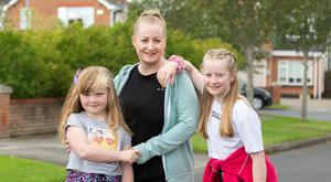 Siobhan O'Neill White rollerblading with her children April (12) and Summer (8). Picture: Ciara Wilkinson
