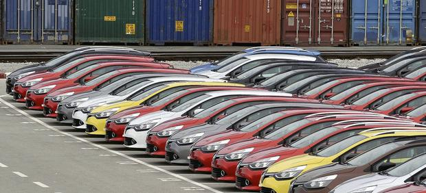 Renault cars coming off the production line