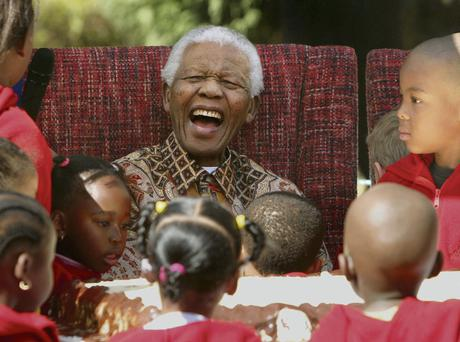 Mandela celebrating his 89th birthday at the Nelson Mandela Children's Fund