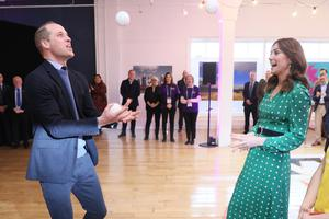 Sporty: The Duke and Duchess of Cambridge juggling during a special event at the Tribeton restaurant in Galway. Picture: PA
