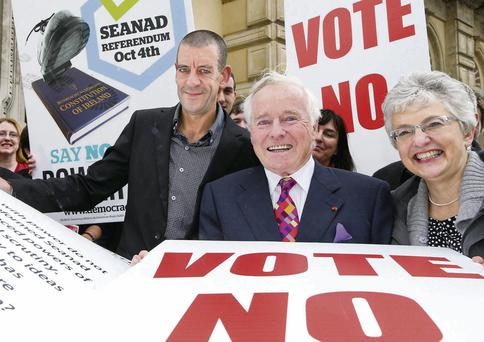 Professor Diarmaid Ferriter, left, Senator Feargal Quinn and Senator Katherine Zappone at a Democracy Matters press conference for a No