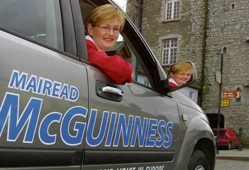 IN THE DRIVING SEAT: Mairead McGuinness, Fine Gael candidate in the European elections for Ireland East, gets her campaign on the road in Ardee, Co Louth. Photo: Tom Conachy