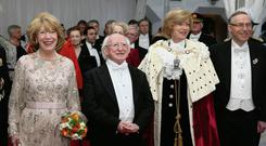 President and Sabina Higgins were greeted by Lord Mayor of the City Of London Fiona Woolf and her husband Nicholas Woolf at the Guildhall Banquet in London. Picture: JOHNNY BAMBURY/ FENNELL PHOTOGRAPHY