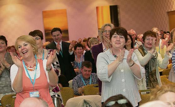 Teachers give a rousing response to a speech by Sheila Nunan, INTO general secretary, yesterday.