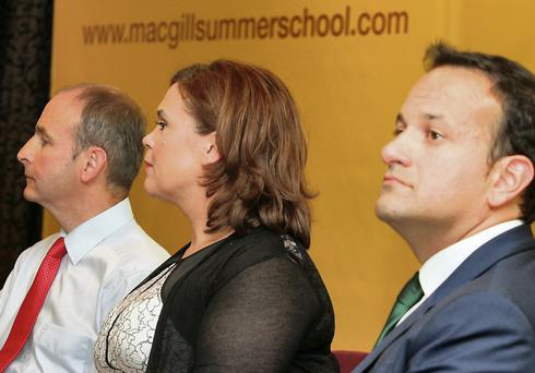 Minister for Health Leo Varadkar TD, Mary Lou McDonald TD and Fianna Fail leader Micheál Martin TD, during their visit to the MacGill Summer School.