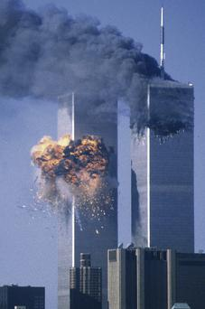 The World Trade Centre in flames on September 11, 2001