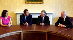 From left, Theresa Villiers, David Cameron, Peter Robinson and Martin McGuinness