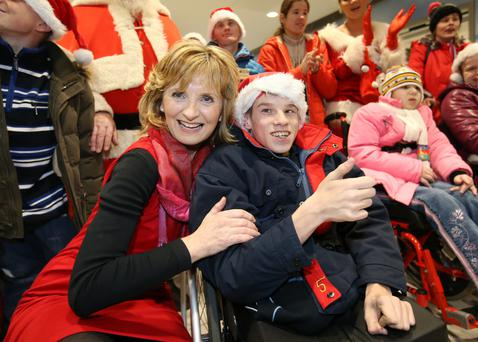 Adi Roche, founder of the Chernobyl Children International charity, which responds to the unmet needs of children affected by the devastating disaster 30 years ago, with Igor Shadkov (16) at Dublin Airport this week Picture: Frank McGrath