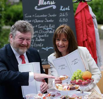 Health Minister James Reilly with Dr Mary Flynn, chief specialist public health nutrition at the FSAI. Photo: Jason Clarke Photography.