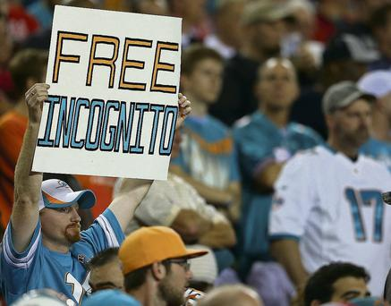 Richie Incognito is in hot water over his treatment of team-mate Jonathan Martin, however, he has received plenty of support from the team's fans