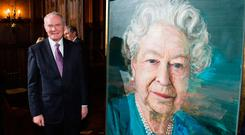 Martin McGuinness looks at a portrait of Queen Elizabeth at Co-operation Ireland reception in London last November. Photo: PA