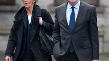THEATRICAL GESTURES: Brian O'Donnell with his wife Mary Patricia outside the commercial court. Photo: Damien Eagers