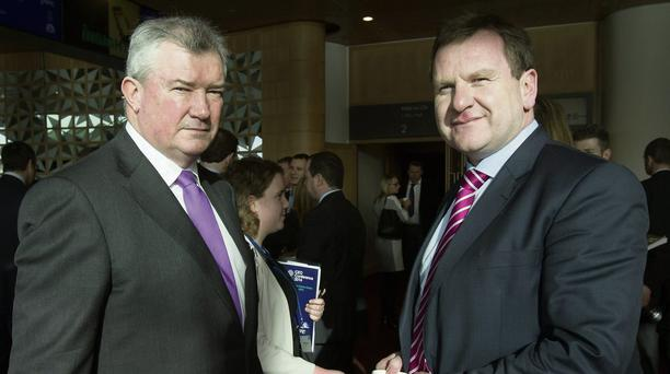 FROM PROSPERITY TO HERE: BoI boss Richie Boucher with Ibec's Danny McCoy at the chinwag. Photo: Mark Condren