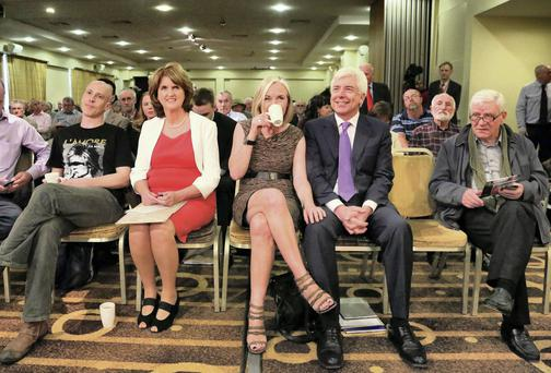 REALITY SUSPENDED: Joan Burton and Alex White (with his wife, Prof Mary Corcoran) at the first in a series of five Labour Party leadership hustings. Photo: Colin Keegan