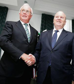 NAMA Chairman Frank Daly, left, and Finance Minister Michael Noonan. Tom Burke
