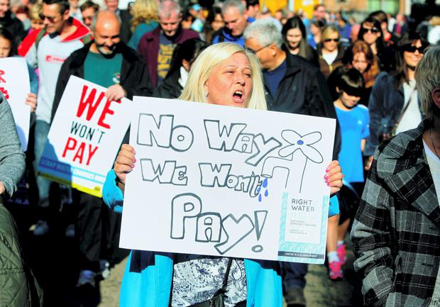 Protesters march against water charges in Dublin earlier this month. Photo: PA
