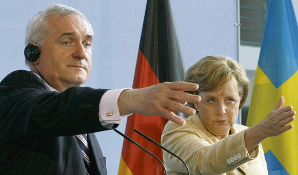 Bertie Ahern and Angela Merkel facing the press in Berlin