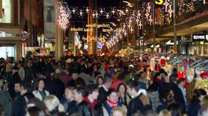 Christmas shoppers on Henry Street in Dublin. Photo: Collins